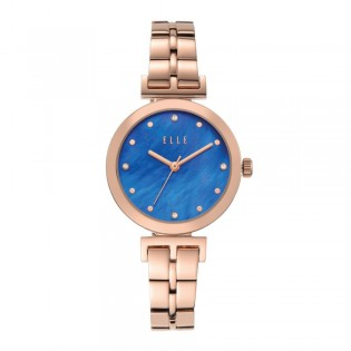 [Official Warranty] Elle ELL21010 Women's Odeon Analog Quartz Blue Dial Rose Gold Stainless Steel Strap Watch (watch for women / jam tangan perumpuan / elle watch for women / elle watch / women watch)