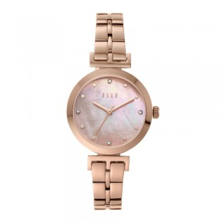 [Official Warranty] Elle ELL21011 Women's Odeon Analog Quartz Pearl Dial Rose Gold Stainless Steel Strap Watch (watch for women / jam tangan perumpuan / elle watch for women / elle watch / women watch)