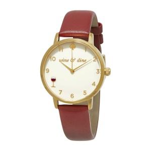 [Official Warranty] Kate Spade KSW1188 Women's Analog Quartz Metro Cream Dial Merlot Leather Strap Watch (watch for women / jam tangan perumpuan / kate spade watch for women / kate spade watch / women watch)