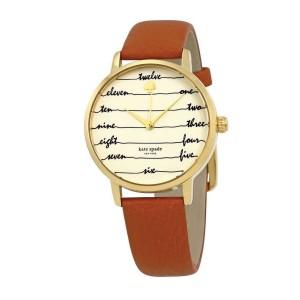 [Official Warranty] Kate Spade KSW1237 Women's Analog Quartz Metro Cream Dial Brown Leather Strap Watch (watch for women / jam tangan perumpuan / kate spade watch for women / kate spade watch / women watch)