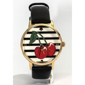 [Official Warranty] Kate Spade KSW1343 Women's Analog Quartz Cherry Motif Dial Black Leather Strap Watch (watch for women / jam tangan perumpuan / kate spade watch for women / kate spade watch / women watch)