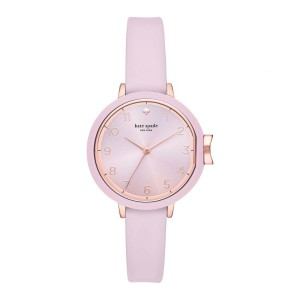[Official Warranty] Kate Spade KSW1477 Women's Analog Quartz Park Row Glossy Pink Silicone Strap Watch (watch for women / jam tangan perumpuan / kate spade watch for women / kate spade watch / women watch)