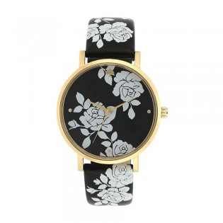 [Official Warranty] Kate Spade KSW1498 Women's Analog Quartz Metro Three-Hand Floral Black Leather Strap Watch (watch for women / jam tangan perumpuan / kate spade watch for women / kate spade watch / women watch)