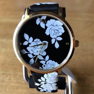 [Official Warranty] Kate Spade KSW1498 Women's Analog Quartz Metro Three-Hand Floral Black Leather Strap Watch (watch for women / jam tangan perumpuan / kate spade watch for women / kate spade watch / women watch)