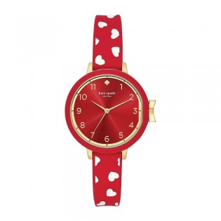 [Official Warranty] Kate Spade KSW1483 Women's Analog Quartz Park Row Red Silicone Strap Watch (watch for women / jam tangan perumpuan / kate spade watch for women / kate spade watch / women watch)