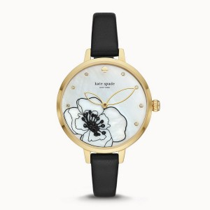 [Official Warranty] Kate Spade KSW1480 Women's Analog Quartz Metro Three-Hand Black Leather Strap Watch (watch for women / jam tangan perumpuan / kate spade watch for women / kate spade watch / women watch)