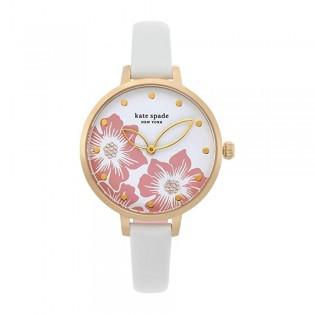 [Official Warranty] Kate Spade KSW1511 Women's Analog Quartz Metro Three-Hand White Leather Strap Watch (watch for women / jam tangan perumpuan / kate spade watch for women / kate spade watch / women watch)