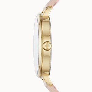 [Official Warranty] Kate Spade KSW1524 Women's Anlog Quartz Metro Three-Hand Blush Leather Strap Watch (watch for women / jam tangan perumpuan / kate spade watch for women / kate spade watch / women watch)