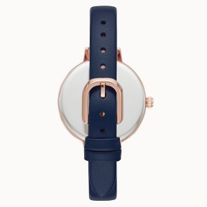 [Official Warranty] Kate Spade KSW1525 Women's Analog Quartz Metro Three-Hand Navy Blue Leather Strap Watch (watch for women / jam tangan perumpuan / kate spade watch for women / kate spade watch / women watch)
