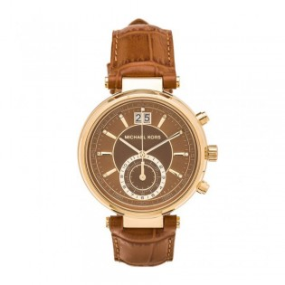 [Official Warranty] Michael Kors MK2424 Women's Chronograph Quartz Sawyer Amber Sunray Dial Amber Brown Leather Strap Watch (watch for women / jam tangan perumpuan / michael kors watch for women  / women watch)