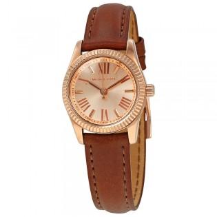 [Official Warranty] Michael Kors MK2540 Women's Analog Quartz Lexington Mini Rose Gold Dial Brown Leather Strap Watch (watch for women / jam tangan perumpuan / michael kors watch for women  / women watch)