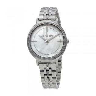 [Official Warranty] Michael Kors MK3641 Women's Analog Quartz Cinthia Mother of Pearl Dial Silver Stainless Steel Strap Watch (watch for women / jam tangan perumpuan / michael kors watch for women  / women watch)