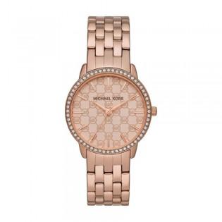 [Official Warranty] Michael Kors MK3156 Women's Analog Quartz Argyle Logo Rose-Tone Stainless Steel Strap Watch (watch for women / jam tangan perumpuan / michael kors watch for women  / women watch)