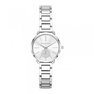 [Official Warranty] Michael Kors MK3837 Women's Analog Quartz Portia Silver Stainless Steel Strap Watch (watch for women / jam tangan perumpuan / michael kors watch for women  / women watch)