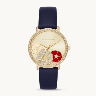 [Official Warranty] Michael Kors MK2726 Women's Analog Quartz Jaryn Gold-Tone Dial Navy Leather Strap Watch (watch for women / jam tangan perumpuan / michael kors watch for women  / women watch)