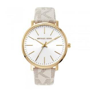 [Official Warranty] Michael Kors MK2858 Women's Analog Quartz Pyper Crystal White Dial White Leather Strap Watch (watch for women / jam tangan perumpuan / michael kors watch for women  / women watch)