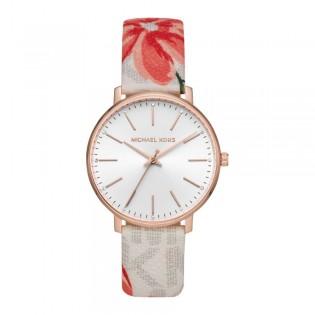 [Official Warranty] Michael Kors MK2895 Women's Analog Quartz Pyper White Dial Floal Leather Strap Watch (watch for women / jam tangan perumpuan / michael kors watch for women  / women watch)