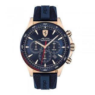[Official Warranty] Scuderia Ferrari 830621 Men's Pilota Chronograph Quartz Blue Dial Blue Silicone Strap Watch (watch for men / jam tangan lelaki / ferrari watch for men / ferrari watch / men watch)