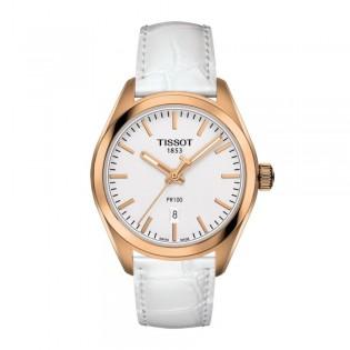[Official Warranty] Tissot T101.210.36.031.01 Women's PR 100 Analog Quartz Silver Dial White Leather Strap Watch (watch for women / jam tangan perumpuan / tissot watch for women / tissot watch / women watch)