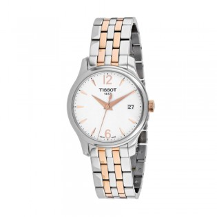 [Official Warranty] Tissot T063.210.22.037.01 Women's Tradition Analog Quartz White Dial Stainless Steel Strap Watch (watch for women / jam tangan perumpuan / tissot watch for women / tissot watch / women watch)