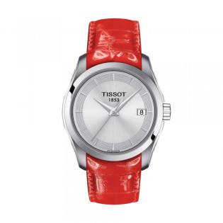 [Official Warranty] Tissot T035.210.16.031.01 Women's Couturier Quartz Silver Dial Red Leather Strap Watch (watch for women / jam tangan perumpuan / tissot watch for women / tissot watch / women watch)