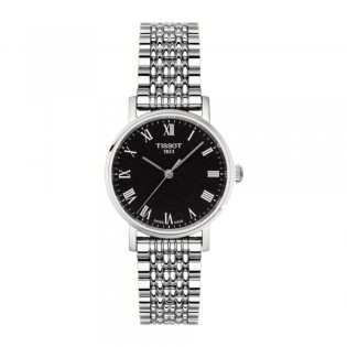 [Official Warranty] Tissot T109.210.11.053.00 Women's Everytime Small Analog Quartz Black Dial Stainless Steel Strap Watch (watch for women / jam tangan perumpuan / tissot watch for women / tissot watch / women watch)