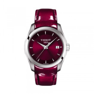 [Official Warranty] Tissot T035.210.16.371.01 Women's T-Sport Couturier Analog Quartz Burgundy Leather Strap Watch (watch for women / jam tangan perumpuan / tissot watch for women / tissot watch / women watch)