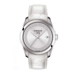 [Official Warranty] Tissot T035.210.16.031.00 Women's T-Classic Couturier Quartz Blue Dial Leather Strap Watch (watch for women / jam tangan perumpuan / tissot watch for women / tissot watch / women watch)