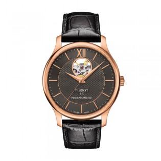 [Official Warranty] Tissot T063.907.36.068.00 Men's Tradition Powermatic 80 Open Heart Black Dial Black Leather Strap Watch (watch for men / jam tangan lelaki / tissot watch for men / tissot watch / men watch)
