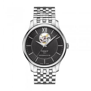 [Official Warranty] Tissot T063.907.11.058.00 Men's Tradition Powermatic 80 Open Heart Black Dial Stainless Steel Strap Watch (watch for men / jam tangan lelaki / tissot watch for men / tissot watch / men watch)