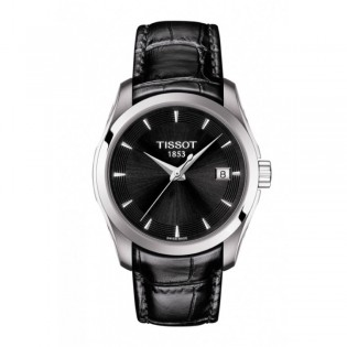 [Official Warranty] Tissot T035.210.16.051.01 Women's T-Classic Couturier Quartz Black Dial Black Leather Strap Watch (watch for women / jam tangan perumpuan / tissot watch for women / tissot watch / women watch)