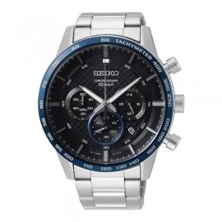 [Official Warranty] Seiko SSB357P1 Men's Sport Chronograph Quartz Black Dial Silver Stainless Steel Strap Watch (watch for men / jam tangan lelaki / seiko watch for men  / men watch)