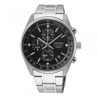 [Official Warranty] Seiko SSB379P1 Men's Chronograph Quartz Black Dial Silver Stainless Steel Strap Watch (watch for men / jam tangan lelaki / seiko watch for men  / men watch)