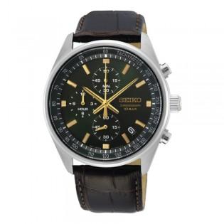 [Official Warranty] Seiko SSB385P1 Men's Chronograph Quartz Black Dial Leather Strap Watch (watch for men / jam tangan lelaki / seiko watch for men  / men watch)