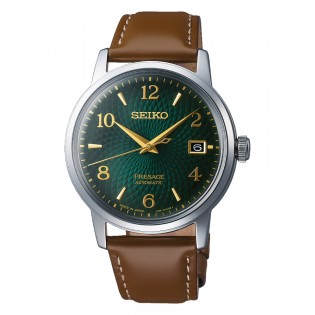 [Official Warranty] Seiko SRPE45J1 Men's Presage Automatic Cocktail Green Dial Brown Leather Strap Watch (watch for men / jam tangan lelaki / seiko watch for men  / men watch)