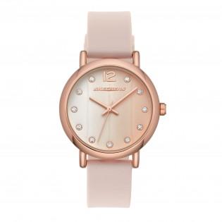 [100% Original] Skechers SR6192 Women's Analog Quartz Rose Gold-Tone Case Blush Pink Silicone Strap Watch