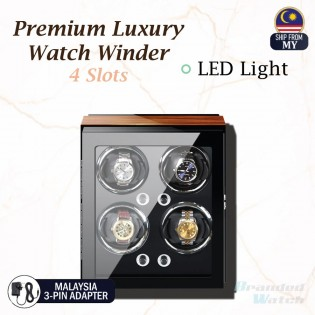 High Quality Premium Luxury Auto Vertical Watch Winder LED Light Rotate Watch Box 4 Slots Premium PU Leather For Watch Collector (Gift Box Present, Watch Lover, Luxury Watch Box)