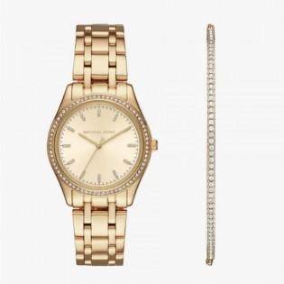 [Official Warranty] Michael Kors MK3767 Women's Kiley Analog Quartz Gold-tone Stainless Steel Watch & Bracelet Set (watch for women / jam tangan perumpuan / michael kors watch for women / mk watch / women watch)