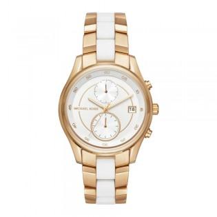 [Official Warranty] Michael Kors MK6466 Women's Briar White Dial Ladies Gold Tone Chronograph Watch (watch for women / jam tangan perumpuan / michael kors watch for women / mk watch / women watch)