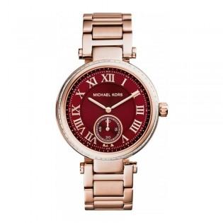 [Official Warranty] Michael Kors MK6086 Women's Skylar Red Dial Rose Gold Steel  Watch (watch for women / jam tangan perumpuan / michael kors watch for women / mk watch / women watch)