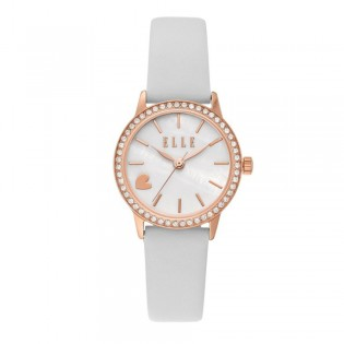 [Official Warranty] Elle ELL21032 Women's Alma Three-Hand White Leather Watch (watch for women / jam tangan perumpuan / elle watch for women / elle watch / women watch)