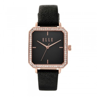 [Official Warranty] Elle ELL25025 Women's Clichy Black Leather Strap Watch (watch for women / jam tangan perumpuan / elle watch for women / elle watch / women watch)