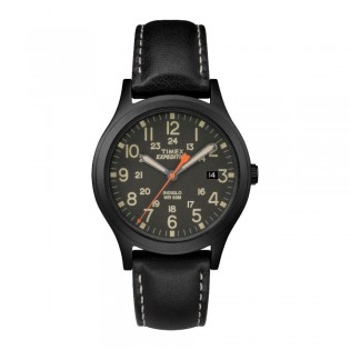 [100% Original] Timex TW4B11200 Men's Expedition Scout 36 Black Leather Strap Watch (watch for men / jam tangan lelaki / timex watch for men / timex watch / men watch)