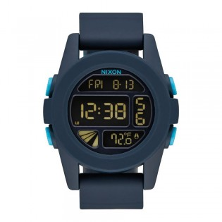 [Official Warranty] Nixon A1972224 Men's  The Unit Alarm Chronograph Blue Rubber Strap Watch (watch for men / jam tangan lelaki / nixon watch for men  / men watch)