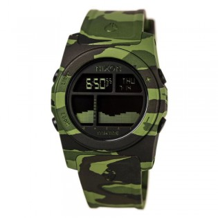 [Official Warranty] Nixon A3851695 Men's The Rhythm Black Digital Dial Green Camouflage Polyurethane Strap Watch (watch for men / jam tangan lelaki / nixon watch for men  / men watch)