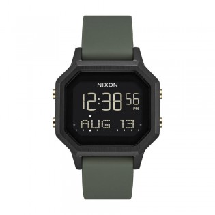 [Official Warranty] Nixon A1211178 Men's Sireb SS Black Dial Green Silicone Strap Watch (watch for men / jam tangan lelaki / nixon watch for men  / men watch)