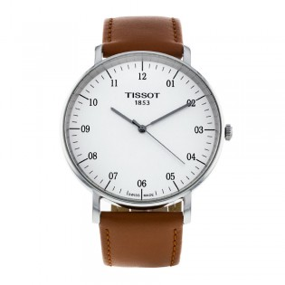 [Official Warranty] Tissot T109.610.16.037.00 Men's Everytime Large Brown Leather Strap Watch (watch for men / jam tangan lelaki / tissot watch for men / tissot watch / men watch)