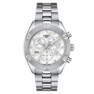 [Official Warranty] Tissot T101.917.11.116.00 Women's PR 100Sport Chic Chronograph Stainless Steel Strap Watch (watch for men / jam tangan lelaki / tissot watch for men / tissot watch / men watch)