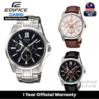 [Official Warranty] Casio Edifice EFB-300 Quartz Analog 100M Sapphire Glass Black Dial Stainless Steel Watch EFB-300D-1A EFB-300L-1A EFB-300L-7A
