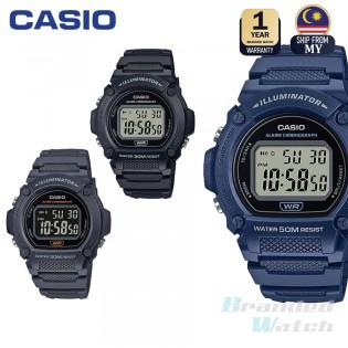 [100% ORIGINAL] CASIO W-219H MEN DIGITAL QUARTZ YOUTH TIMEPIECES DATE DAY RESIN STRAP WATCH W-219H-1AV  W-219H-2AV W-219H-8BV